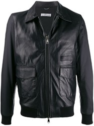 Daniele Alessandrini Zipped Leather Jacket Black