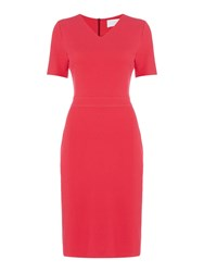 Hugo Boss Helala V Neck Short Sleeve Pencil Dress Pink