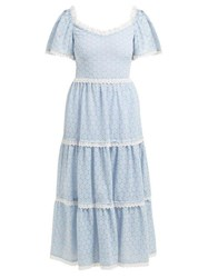 Luisa Beccaria Lace Trimmed Broderie Anglaise Cotton Blend Dress Blue White