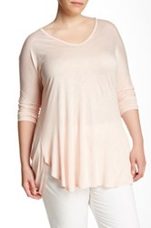 Vince Camuto V Neck Long Dolman Tunic Plus Size Pink