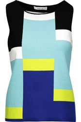 Milly Color Block Intarsia Knit Top Multi