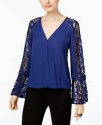 Inc International Concepts Lace Inset Surplice Top Only At Macy's Tartan Blue