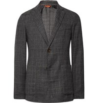 Barena Grey Slim Fit Unstructured Prince Of Wales Checked Wool Blazer Gray