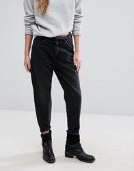 Only Frayed Waist Boyfriend Jeans Black