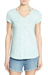 Women's Wit And Wisdom Shoulder Cutout V Neck Tee Seafoam