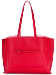 Akris Oversized Tote Leather Red