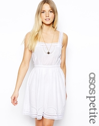 Asos Petite Exclusive Dress With Pretty Cotton Lace Trim White