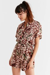Urban Outfitters Uo Jungle Belted Shirt Romper Neutral Multi
