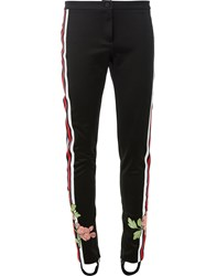 Gucci Jersey Floral Embroidered Stirrup Trousers Black