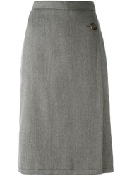 Yves Saint Laurent Vintage Buttoned Midi Skirt Brown