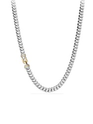 David Yurman Cable Buckle Chain Necklace With 14K Gold Silver Gold