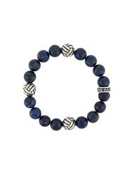King Baby Studio Woven Engraved Beaded Bracelet Blue