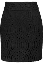 Maje Corded Lace Crepe De Chine Mini Skirt Black