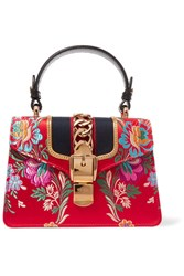 Gucci Sylvie Mini Chain Embellished Jacquard Tote Red