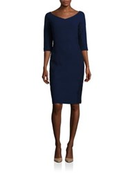 Lafayette 148 New York Lace Embroidery Nouveau Crepe Alexia Wool Dress Galaxy Blue