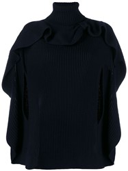 Red Valentino Ruffled Cape Ribbed Top Blue