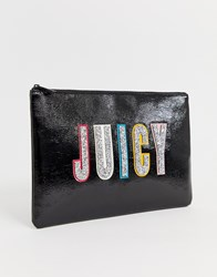 Juicy Couture Glitter Logo Pouch Black