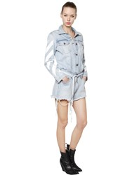 Off White Diagonal Stripes Cotton Denim Romper