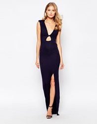 Love Maxi Dress With Cowl Back And Keyhole Front Navy