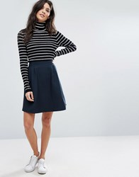 Vila Textured Skater Skirt Total Eclipse Blue