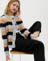 Selected Femme Multi Stripe Knitted Cardigan Lgm Stripe