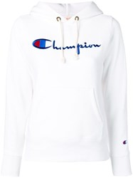 Champion Embroidered Logo Hoodie White