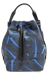 Opening Ceremony 'Izzy Chard Print' Leather Backpack Blueberry Multi
