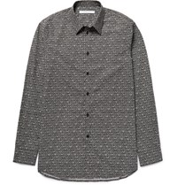 Givenchy Slim Fit Printed Cotton Poplin Shirt Black