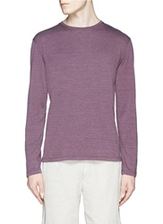 Isaia Silk Cotton Long Sleeve Crew Neck T Shirt Grey