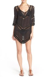 Women's Elan Crochet Tunic Cover Up Black