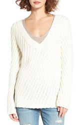 Woven Heart Women's Plunging V Neck Pullover Ivory