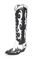 Jeffrey Campbell Starwood Western Boots Black White