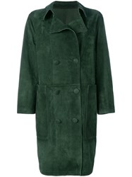 Golden Goose Deluxe Brand Nives Double Breasted Coat Sheep Skin Shearling Green
