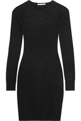 Autumn Cashmere Corded Lace Paneled Mini Dress Black