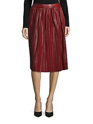 Saks Fifth Avenue Red Pleated A Line Skirt Wine