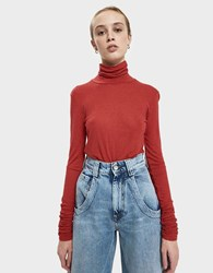 Just Female Eva Ruched Sleeve Top Scarlet