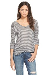 Junior Women's Bp. Stripe V Neck Long Sleeve Tee Black Stripe Loose