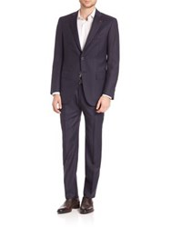Isaia Navy Striped Suit Dark Blue