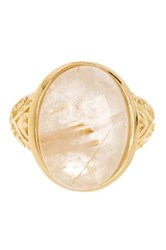 Savvy Cie 18K Gold Vermeil Rutilated Quartz Cocktail Ring Yellow