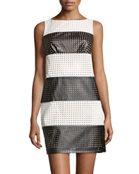 Muse Striped Perforated Faux Leather Dress Black White