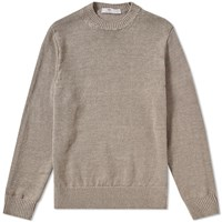 Inis Meain Solid Linen Crew Knit Brown