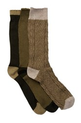 Lucky Brand Marled Colorblock Crew Cut Socks Pack Of 3 Green