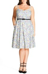 City Chic Plus Size Women's 'Open Rose' Belted Floral Fit And Flare Dress Petite Floral