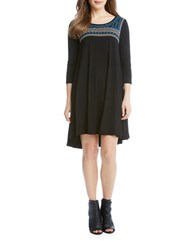 Karen Kane Maggie Embroidered Trapeze Dress Black