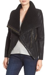 Guess Women's Faux Leather Moto Jacket With Faux Fur Trim