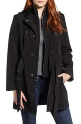 London Fog Hooded Trench Coat Black