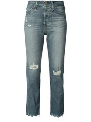 Ag Jeans High Rise Cropped Women Cotton Polyurethane 29 Blue