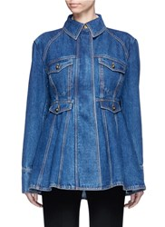 Ellery 'Pro Protest' Peplum Hem Denim Jacket Blue