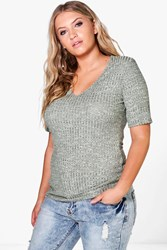 Boohoo Tia Ribbed Basic V Neck Tee Khaki