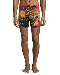 Versace Men's Printed Short Black Fuschia